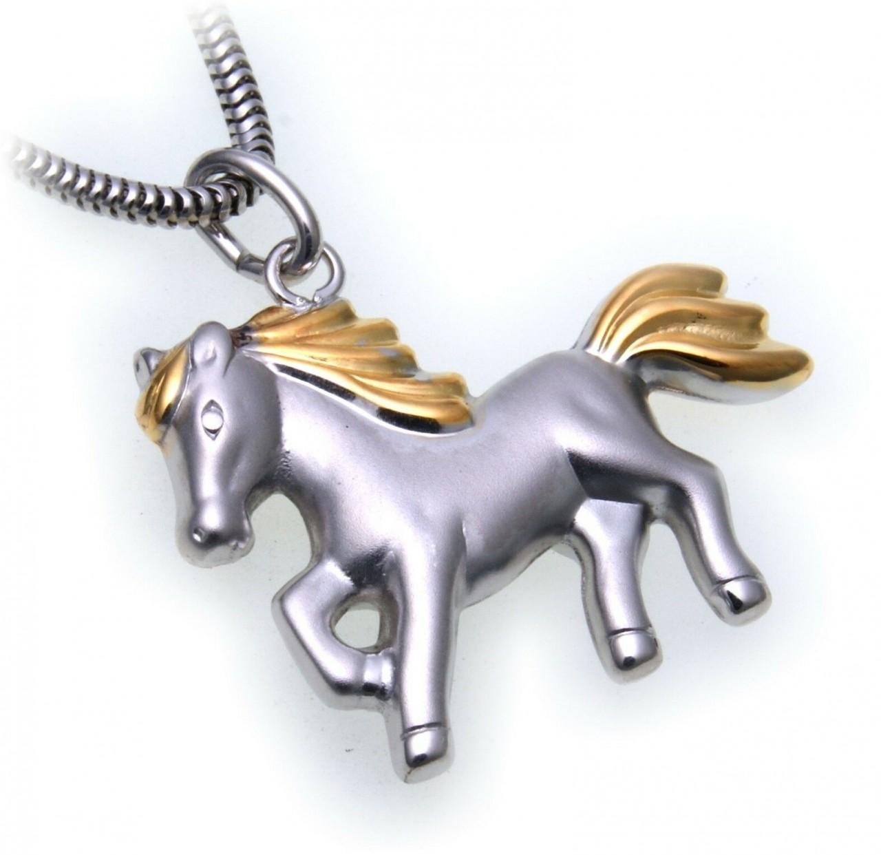 Pferd Silber 925 Anhänger Bicolor plastisch 3D