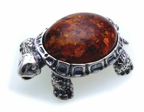 Figur Schildkröte echter Bernstein mit echt Silber 925 Sterlingsilber