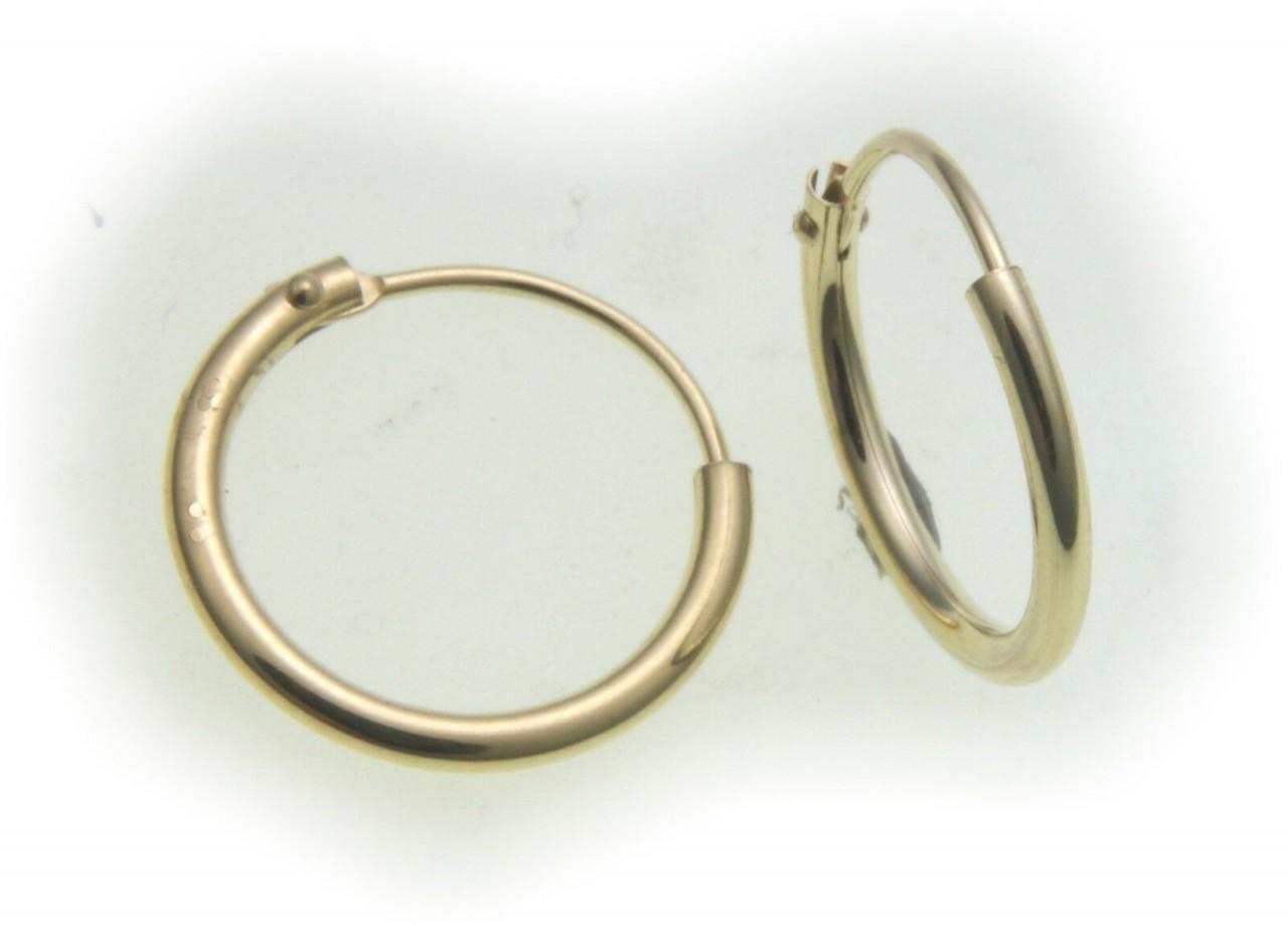 Ohrringe Creolen Gold 333 Glanz 13 mm Rohrform Gelbgold Unisex 8kt