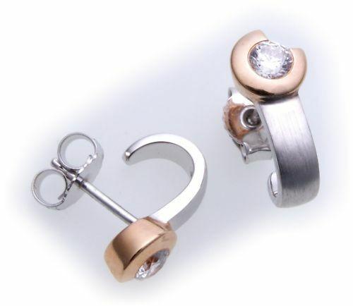 Damen Ohrringe Stecker Diamant 0,20c echt Weißgold 585 rotv Ohrstecker Gold
