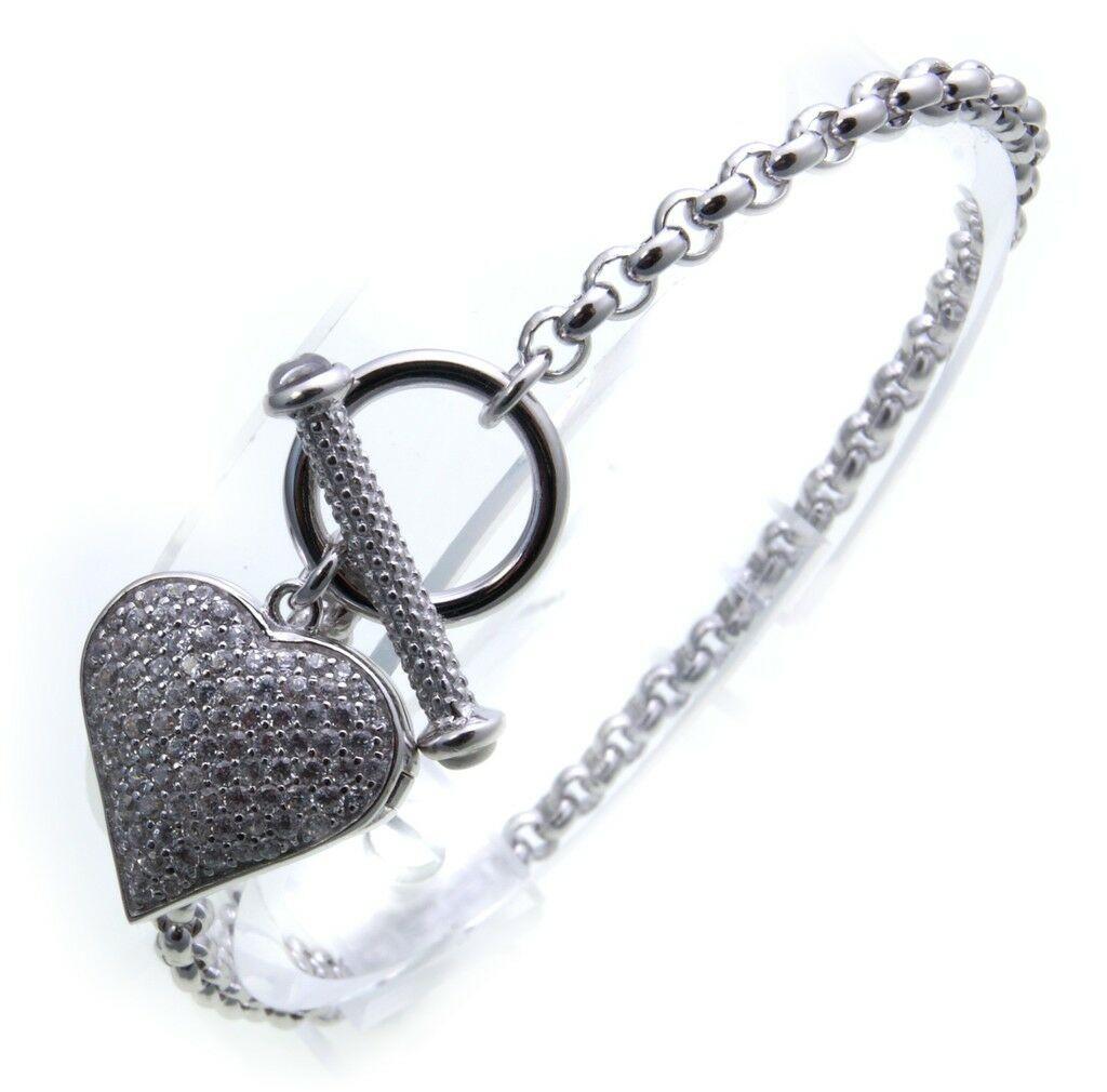 Armband mit Medaillon klappbar Zirkonia echt Silber 925 Sterlingsilber Damen