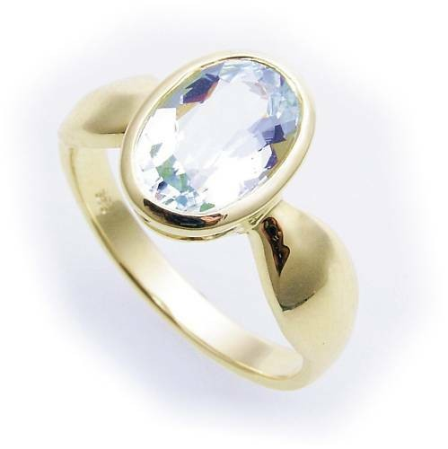 Damen Ring echt Aquamarin 10 x 7 echt Gold 333 Zarge Gelbgold
