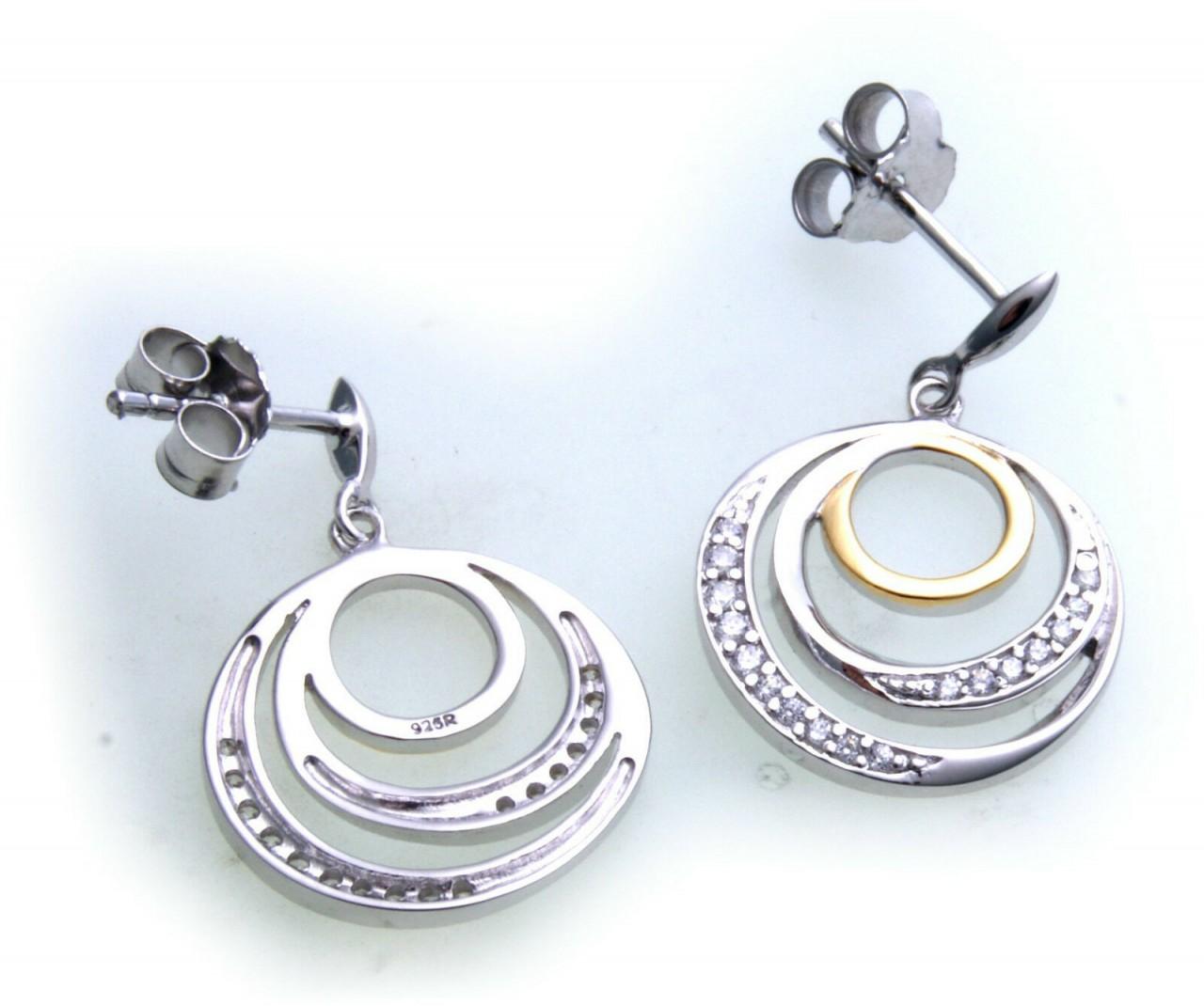 Damen Ohrringe Ohrstecker Hänger echt Silber 925 Zirkonia Sterlingsilber Bicolor