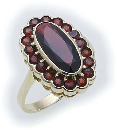 Damen Ring m. Granat in Gold 585 Gelbgold Granatring alle Weiten 8907/5GR