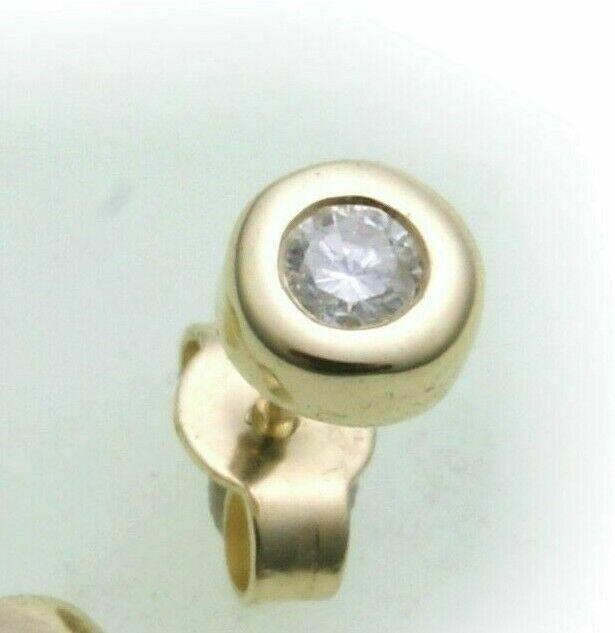 Herren Ohrringe Ohrstecker echt Gold 585 Brillant 0,08 ct 14 kt Gelbgold Diamant