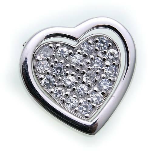 Anhänger 2 Herzen echt Silber 925 Zirkonia ausgefaßt Sterlingsilber Herz