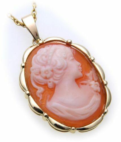 Damen Anhänger m. Muschelgemme Gold 585 Gemmenanhänger Gelbgold Qualität Granat