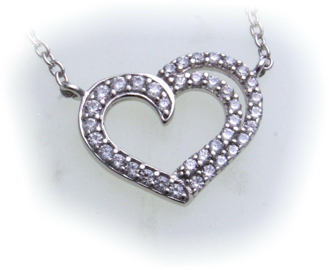 Damen Collier echt Silber 925 Zirkonia Sterlingsilber Herz Anhänger Halskette
