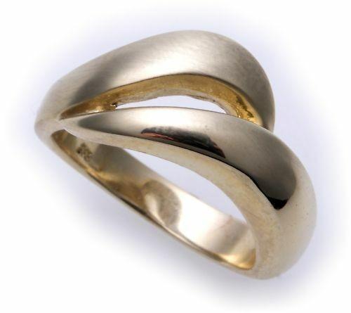 Damen Ring massiv echt Gold 585 teilmatt 14kt Gelbgold Qualität