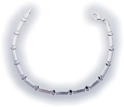 Damen Armband in Silber 925 massiv 19 cm teilmatt Sterlingsilber