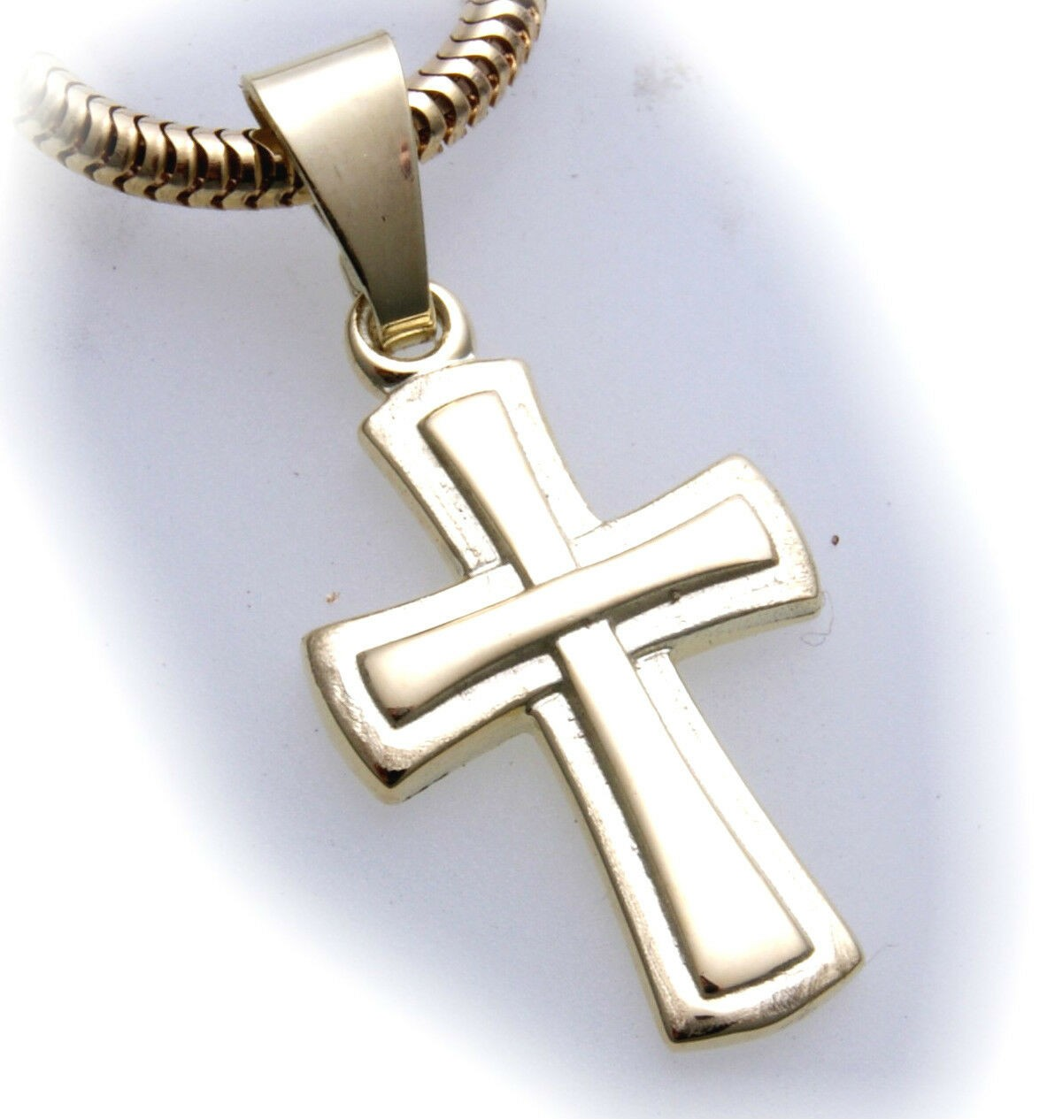 Anhänger Kreuz Gold 333 poliert 22 mm teilmatt. Gelbgold Unisex Qualität