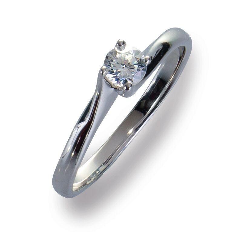 Damenring Ring Weißgold 585 Brillant 0.20 ct. Gold Diamant Viola Luxury