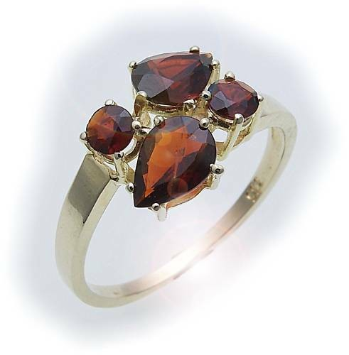 Damen Ring m. Granat in Gold 333 Granatring alle Weiten Gelbgold Qualität 8288/3