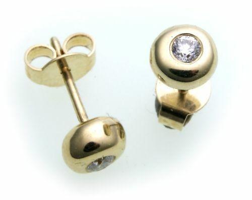 Damen Ohrringe Ohrstecker echt Gold 585 Brillant 0,16 ct Diamant si Gelbgold