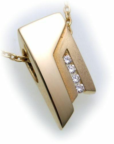 Anhänger mit Brillant 0,08ct in Gold 585/- teilmatt Diamant Gelbgold