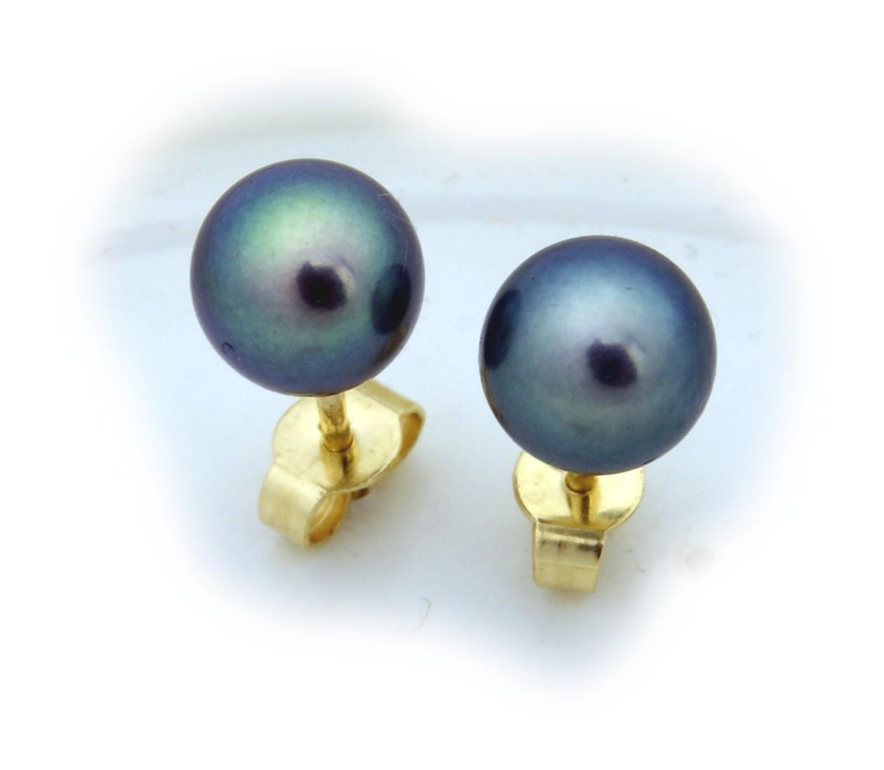 Damen Ohrringe echt Süßwasserzuchtperlen grau 7 mm echt Gold 585 Gelbgold Perlen