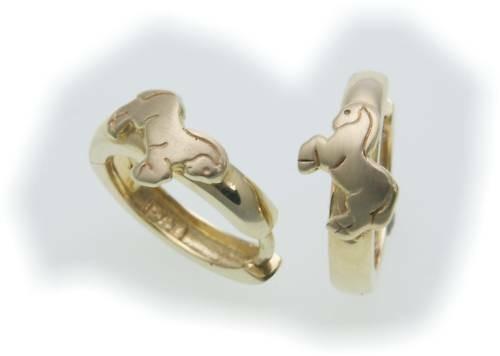 Kinder Ohrringe Klappcreolen Pferd Gold 333 teilmatt. Gelbgold Qualität