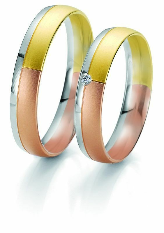 Trauringe Breuning Rainbow Collection 6201/6202 in 585 Gold weiß rot gelb 14 kt