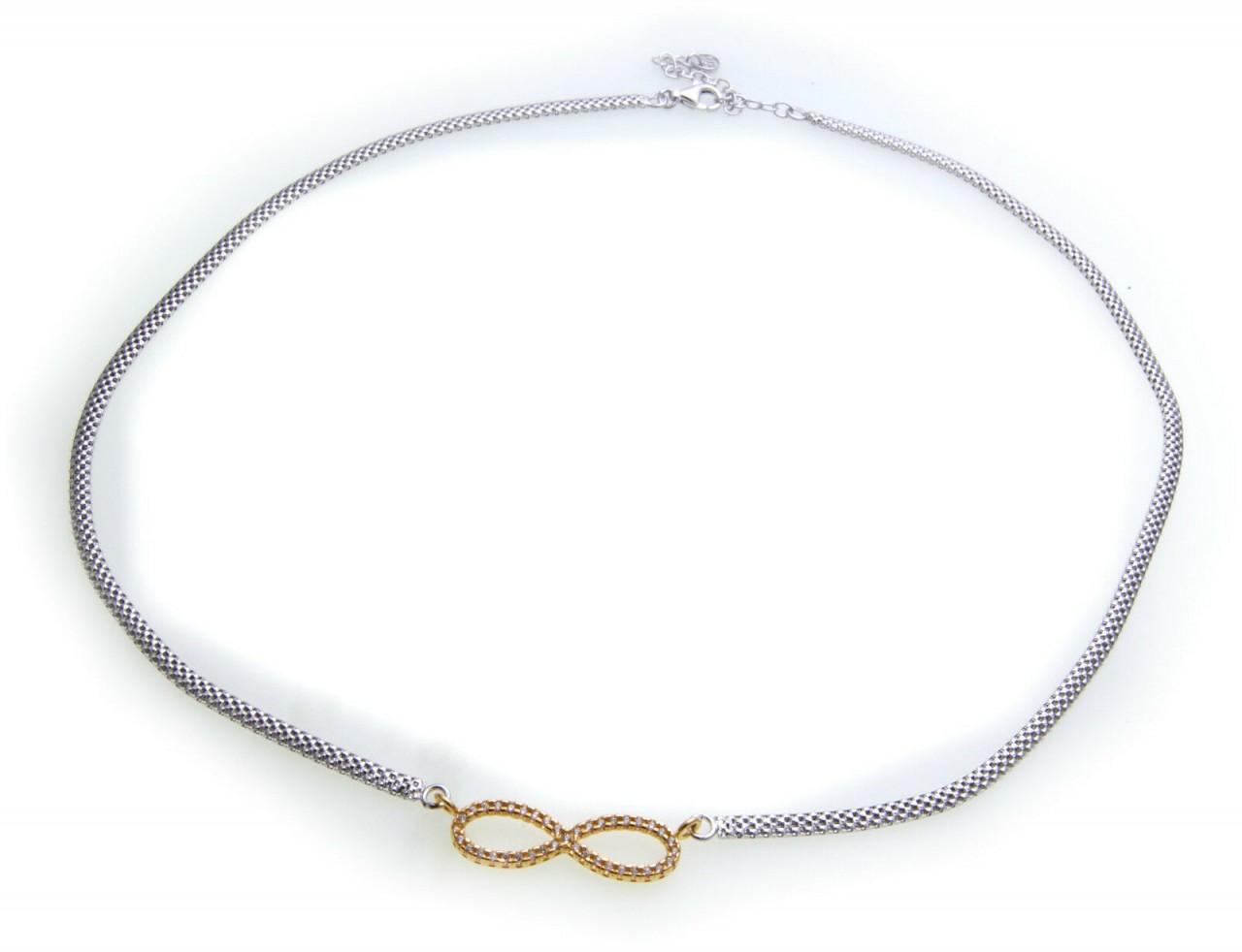 Damen Collier Unendlichkeit Zirkonia Silber 925 Sterlingsilber Halskette NEU