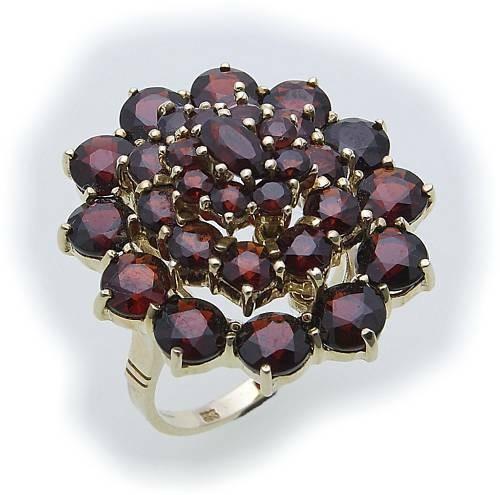 Damen Ring m. Granat in Gold 333 Granatring alle Weiten Gelbgold Qualität 8309/3