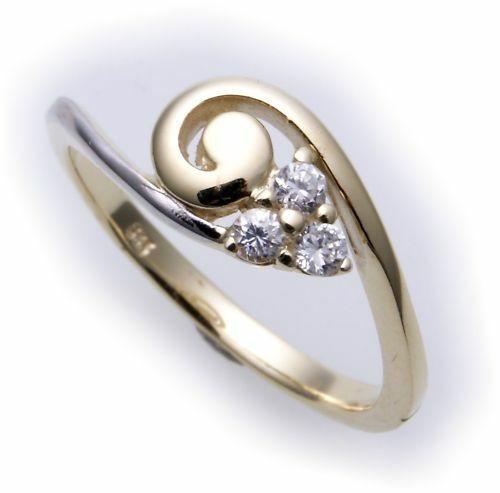 Neu Damen Ring echt Gold 333 Zirkonia poliert rhod. 8 kt Gelbgold Top Qualität