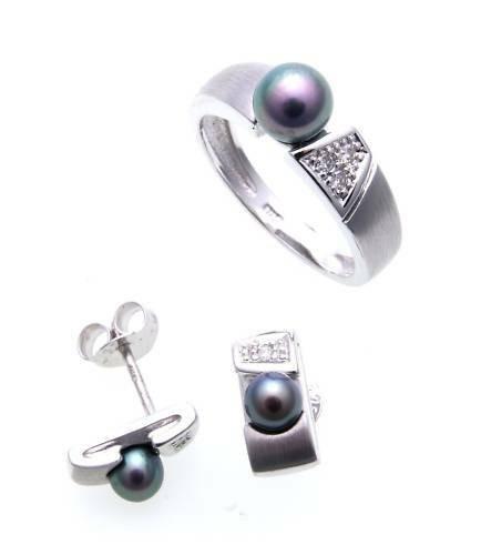 Schmuckset Ring Ohrringe Perlen Brillant echt Weißgold 375 Gold Diamant