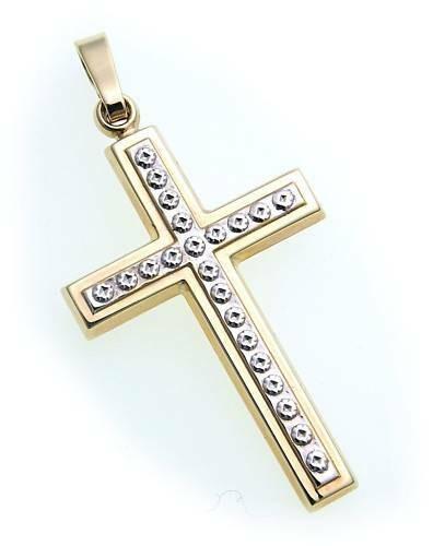 Anhänger Kreuz Gold 333 poliert 32 mm teilrhod. Gelbgold Unisex
