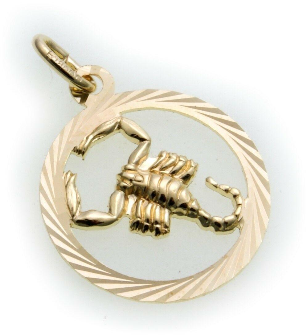 Anhänger Sternzeichen Skorpion durchbrochen Double vergoldet plastisch Horoskop