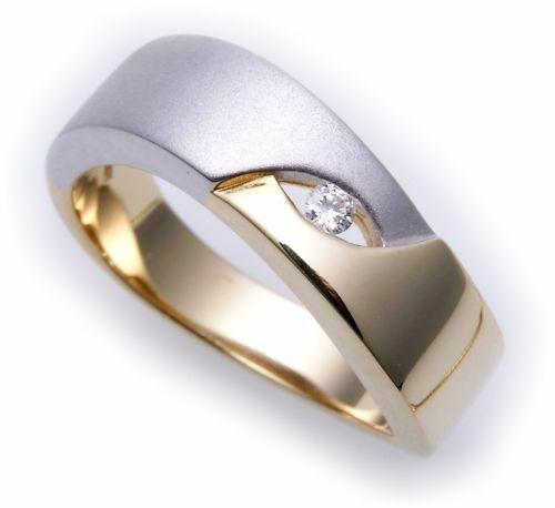 Damen Ring Brillant 0,04c echt Gold 585 Bicolor massiv Gelbgold Diamant Qualität