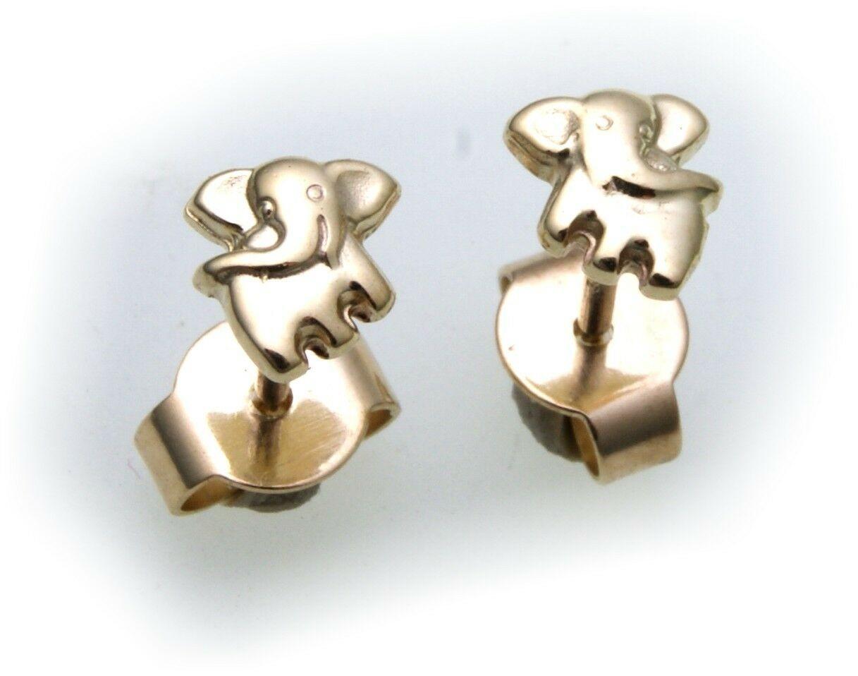 Kinder Ohrringe Ohrstecker Elefant Gold 333 massiv 8kt Gelbgold Qualität