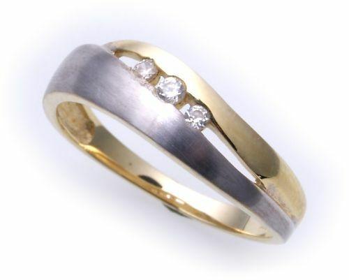 Damen Ring echt Gold 333 Zirkonia 8 karat Gelbgold rhodiniert Qualität NEU Top