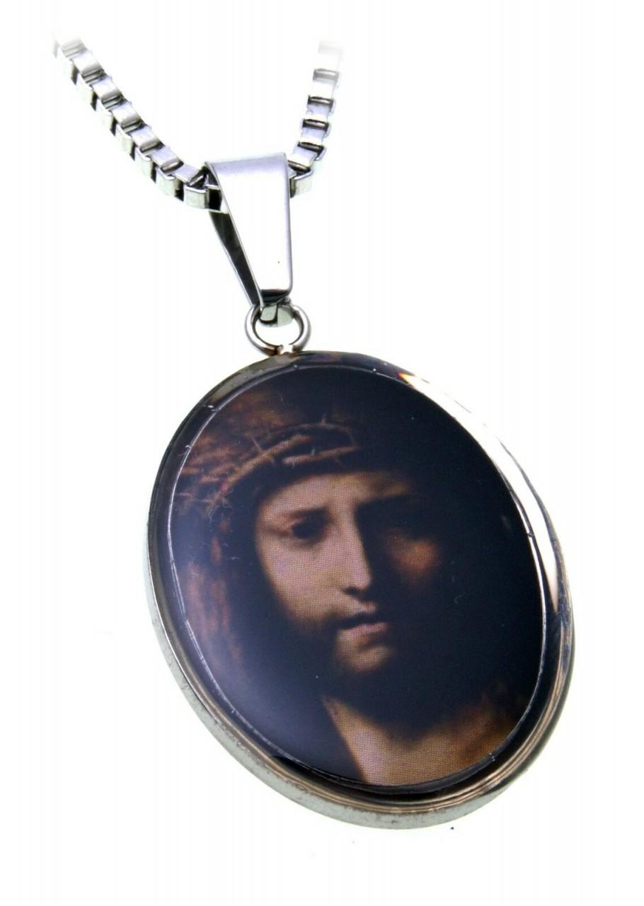 Anhänger Jesus Christus mit Dornenkrone mit Kette Edelstahl Gebet Veneziakette