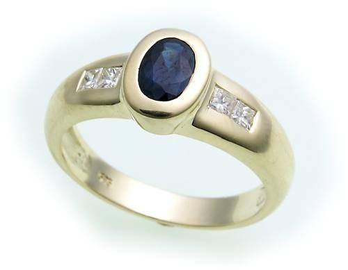 Damen Ring Saphir echt Gold 585 Brillant 0,20ct Carree 14karat Gelbgold Diamant