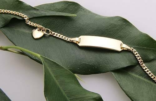 Kinderarmband Flachpanzer 14,5 cm incl. Gravur Gold 333 ID Band Armband 8kt Neu