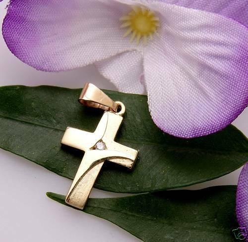 Anhänger Kreuz Gold 333 1 Zirkonia teilmatt. Qualität Gelbgold Damen