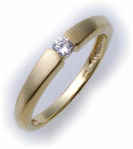 Damen Ring echt Gold 333 Zirkonia Qualität günstig 8kt Damenring Neu Gelbgold