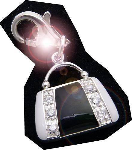 Charm Handtasche schwarz-weiß Silber 925 Bettelarmband Sterlingsilber Qualität