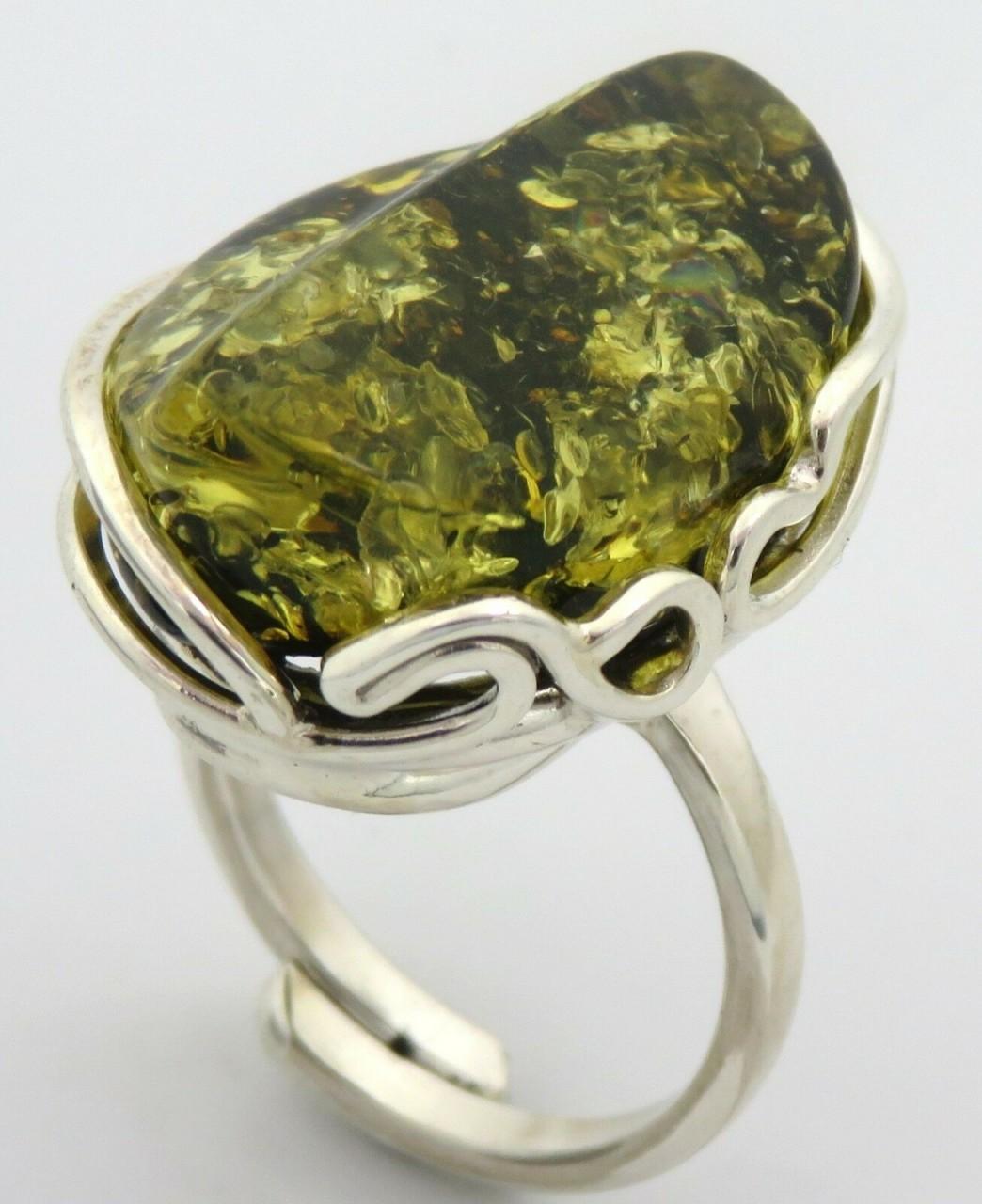 Neu Ring groß echt Natur Bernstein grün Ostsee echt Silber 925 Sterlinsilber Top