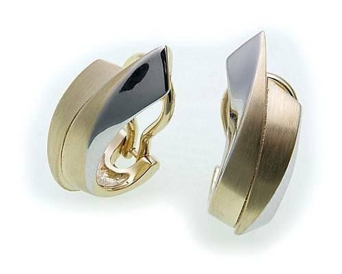 Damen Ohrringe Klapp Stecker Gold 585 Bicolor Clip teilmatt Gelbgold Ohrstecker