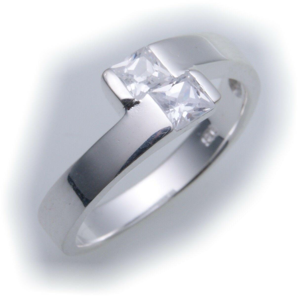 exkl. Damen Ring echt Silber 925 mit Zirkonia Sterlingsilber Qualität