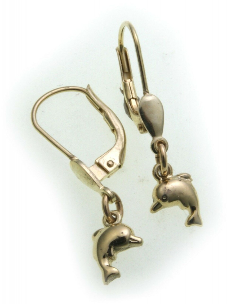 Kinder Ohrringe Ohrhänger Delfin Glanz 585 Gold Hänger Delphin massiv neu 14kt