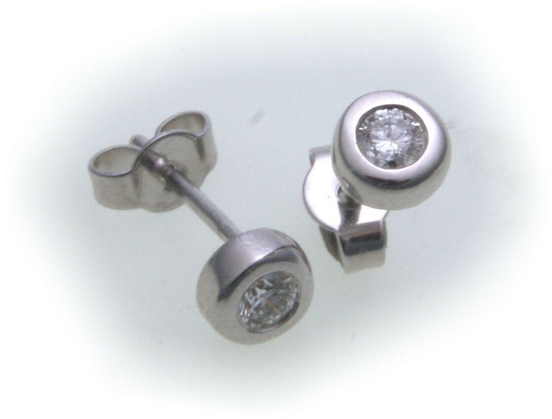 Damen Ohrringe Ohrstecker Weißgold 750 Brillant 0,15 ct 5 mm Gold 18 kt Diamant
