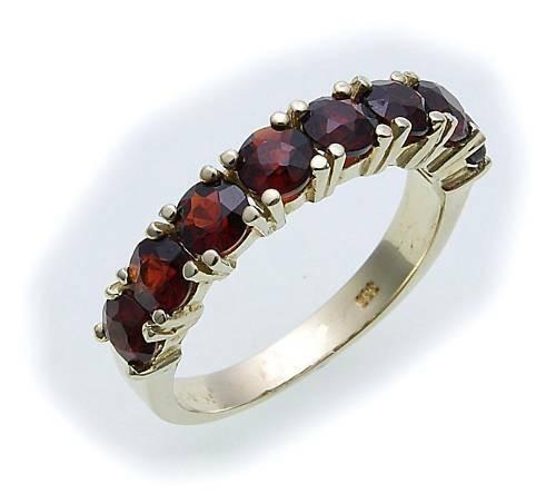 Damen Ring m. Granat in Gold 585 Gelbgold Granatring alle Weiten 8982/5GR