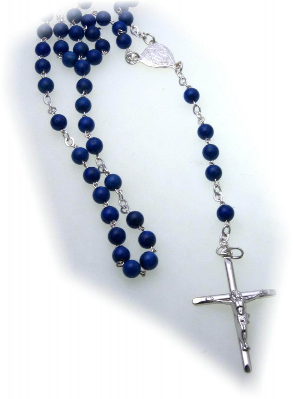 Halskette Rosenkranz Kreuz Jesus Silber 925 Sterlingsilber Lapis Kugel Unisex