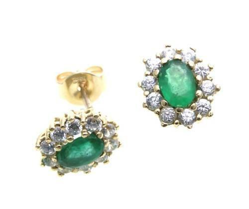 Damen Ohrringe Stecker echt Smaragd Gold 333 Zirkonia Ohrstecker Gelbgold