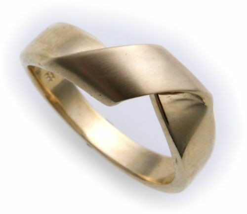 Damen Ring echt Gold 585 teilmattiert massiv Gelbgold 14kt Qualität