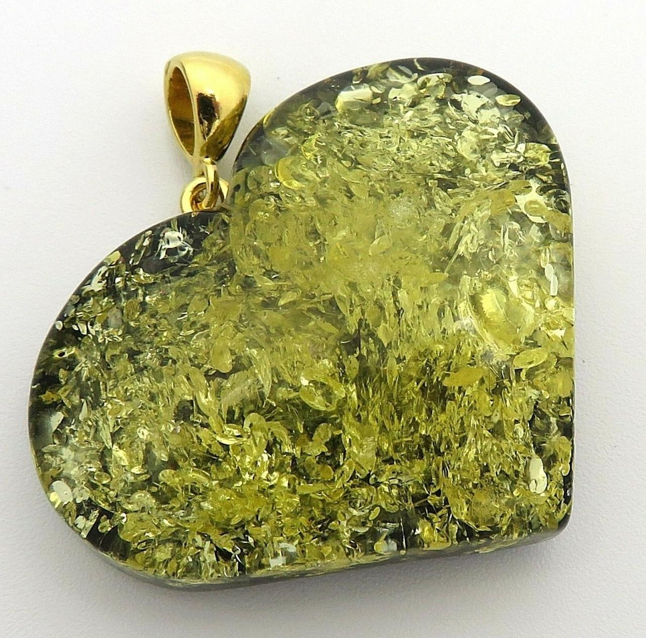 Neu Anhänger echt Natur Bernstein grün Ostsee Herz mit Silberschlaufe 925 Top