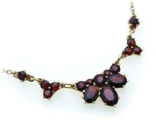Collier m. Granat echt Gold 333 Halsschmuck Gelbgold Damen 8kt Halskette 4929/3G