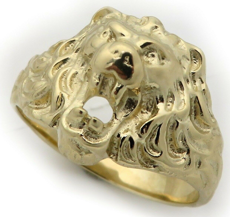 Herren Ring echt Gold 333 Löwe Löwenkopf Gelbgold 8 karat massiv Qualität Damen
