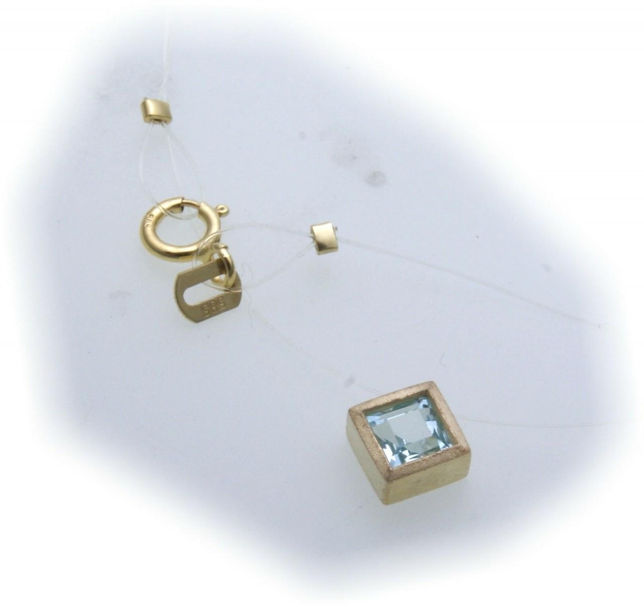 Damen Collier echt Topas 585 Gold Nylonkette Nyloncollier Blautopas Gelbgold Neu